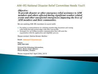 AIM-IRS National Disaster Relief Committee Needs You!!!
