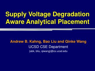 Supply Voltage Degradation Aware Analytical Placement