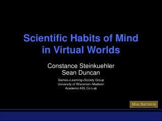 Scientific Habits of Mind in Virtual Worlds