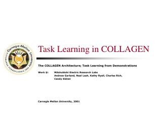 Task Learning in COLLAGEN