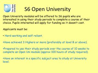 S6 Open University