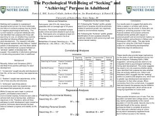 The Psychological Well-Being of �Seeking� and �Achieving� Purpose in Adulthood