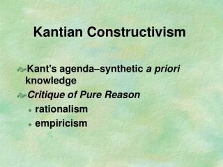 Kantian Constructivism