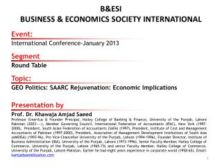 B&ESI BUSINESS & ECONOMICS SOCIETY INTERNATIONAL