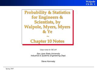 Class notes for ISE 201 San Jose State University Industrial & Systems Engineering Dept.