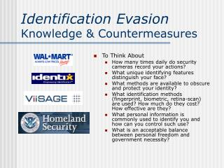 Identification Evasion Knowledge  Countermeasures