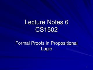 Lecture Notes 6 CS1502