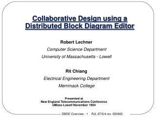 Collaborative Design using a Distributed Block Diagram Editor