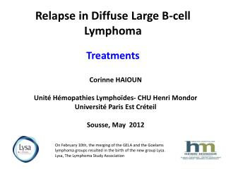 Relapse in Diffuse Large B-cell Lymphoma Treatments