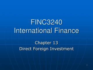 FINC3240 International Finance