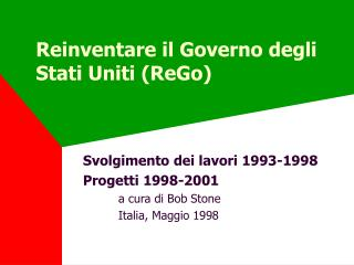 Reinventare il Governo degli Stati Uniti (ReGo)