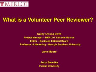 What is a Volunteer Peer Reviewer?