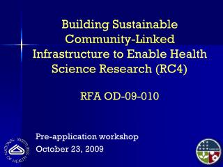 Pre-application workshop October 23, 2009