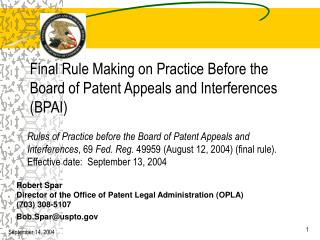 Final Rule Making on Practice Before the Board of Patent Appeals and Interferences (BPAI)