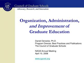 Organization, Administration,  and Improvement  of Graduate Education