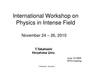International Workshop on Physics in Intense Field