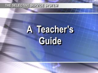A  Teacher's Guide