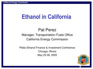 Ethanol in California