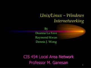 Unix/Linux � Windows Internetworking