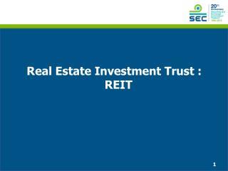 Real Estate Investment Trust :  REIT
