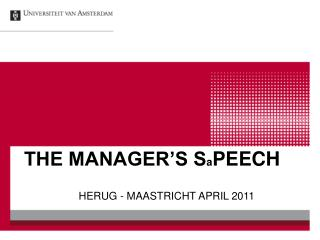 THE MANAGER�S S a PEECH