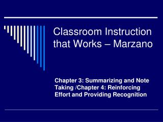 Classroom Instruction that Works – Marzano