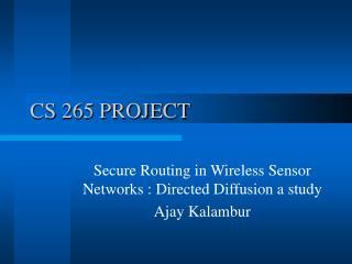 CS 265 PROJECT