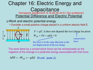 Chapter 16: Electric Energy and Capacitance