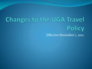 Changes to the UGA Travel Policy