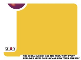 THE COBRA SUBSIDY AND THE ARRA: WHAT EVERY EMPLOYER NEEDS TO KNOW AND HOW TRION CAN HELP