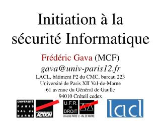 Initiation à la  sécurité Informatique
