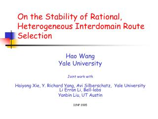 On the Stability of Rational, Heterogeneous Interdomain Route Selection