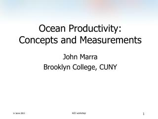 Ocean Productivity: Concepts and Measurements