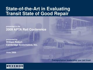 State-of-the-Art in Evaluating Transit State of Good Repair