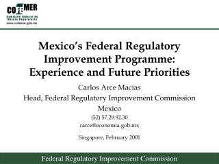 Mexico's Federal Regulatory Improvement Programme:  Experience and Future Priorities