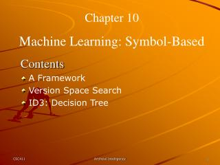 Chapter 10 Machine Learning: Symbol-Based