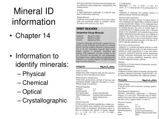 Mineral ID information