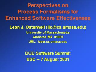 Perspectives on  Process Formalisms for Enhanced Software Effectiveness