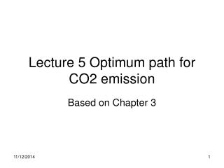 Lecture 5 Optimum path for CO2 emission