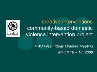 Oakland based – national scope Violence intervention/prevention through  community building