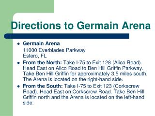Directions to Germain Arena