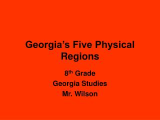 Georgia's Five Physical Regions