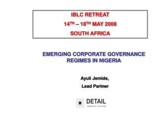 IBLC RETREAT  14 TH  – 18 TH  MAY 2008 SOUTH AFRICA