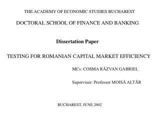 THE ACADEMY OF ECONOMIC STUDIES BUCHAREST