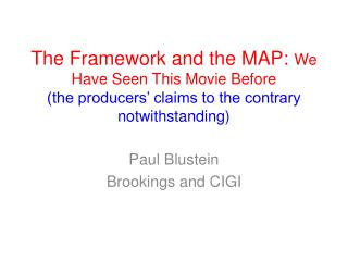 Paul Blustein Brookings and CIGI