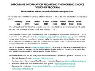 IMPORTANT INFORMATION REGARDING THE HOUSING CHOICE VOUCHER PROGRAM