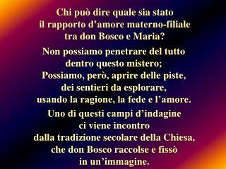 Chi può dire quale sia stato  il rapporto d'amore materno-filiale  tra don Bosco e Maria?