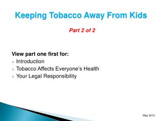 Keeping Tobacco Away From Kids
