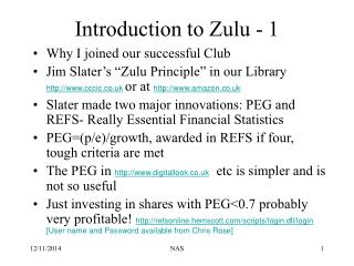 Introduction to Zulu - 1