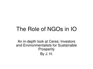 The Role of NGOs in IO